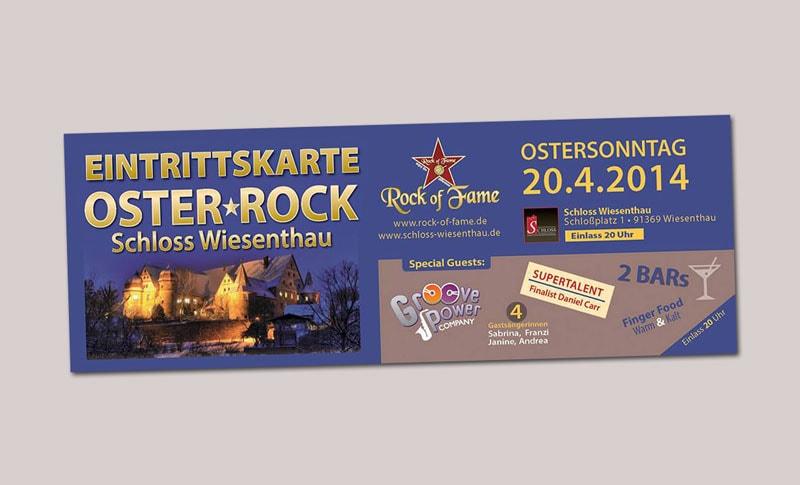 Eintrittskarte Gestaltung und Druck Rock of Fame Möhrendorf